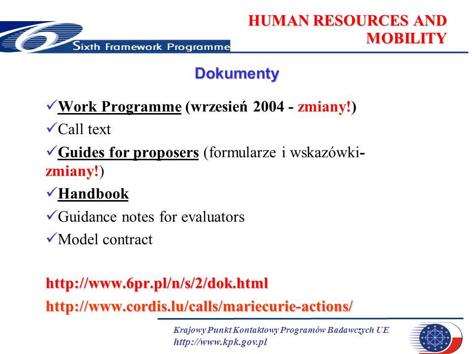 Krajowy Punkt Kontaktowy Programów Badawczych UE http://www.kpk.gov.pl HUMAN RESOURCES AND MOBILITY Dokumenty Work Programme (wrzesień 2004 - zmiany!) Call text Guides for proposers (formularze i wskazówki- zmiany!) Handbook Guidance notes for evaluators Model contracthttp://www.6pr.pl/n/s/2/dok.htmlhttp://www.cordis.lu/calls/mariecurie-actions/
