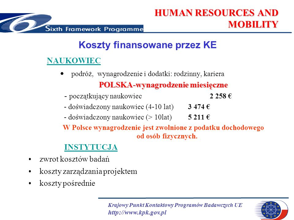 Krajowy Punkt Kontaktowy Programów Badawczych UE http://www.kpk.gov.pl HUMAN RESOURCES AND MOBILITY Koszty finansowane przez KE NAUKOWIEC podróż, wynagrodzenie i dodatki: rodzinny, kariera POLSKA-wynagrodzenie miesięczne - początkujący naukowiec 2 258 - doświadczony naukowiec (4-10 lat) 3 474 - doświadczony naukowiec (> 10lat) 5 211 W Polsce wynagrodzenie jest zwolnione z podatku dochodowego od osób fizycznych.