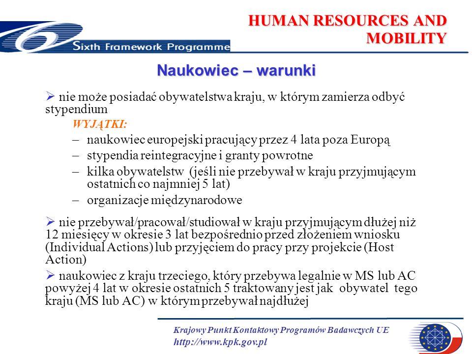 Krajowy Punkt Kontaktowy Programów Badawczych UE http://www.kpk.gov.pl HUMAN RESOURCES AND MOBILITY Naukowiec – warunki nie może posiadać obywatelstwa kraju, w którym zamierza odbyć stypendium WYJĄTKI: –naukowiec europejski pracujący przez 4 lata poza Europą –stypendia reintegracyjne i granty powrotne –kilka obywatelstw (jeśli nie przebywał w kraju przyjmującym ostatnich co najmniej 5 lat) –organizacje międzynarodowe nie przebywał/pracował/studiował w kraju przyjmującym dłużej niż 12 miesięcy w okresie 3 lat bezpośrednio przed złożeniem wniosku (Individual Actions) lub przyjęciem do pracy przy projekcie (Host Action) naukowiec z kraju trzeciego, który przebywa legalnie w MS lub AC powyżej 4 lat w okresie ostatnich 5 traktowany jest jak obywatel tego kraju (MS lub AC) w którym przebywał najdłużej