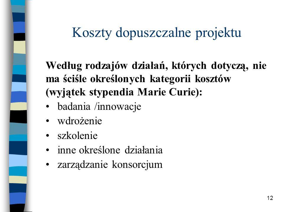 12 Koszty dopuszczalne projektu Według rodzajów działań, których dotyczą, nie ma ściśle określonych kategorii kosztów (wyjątek stypendia Marie Curie): badania /innowacje wdrożenie szkolenie inne określone działania zarządzanie konsorcjum