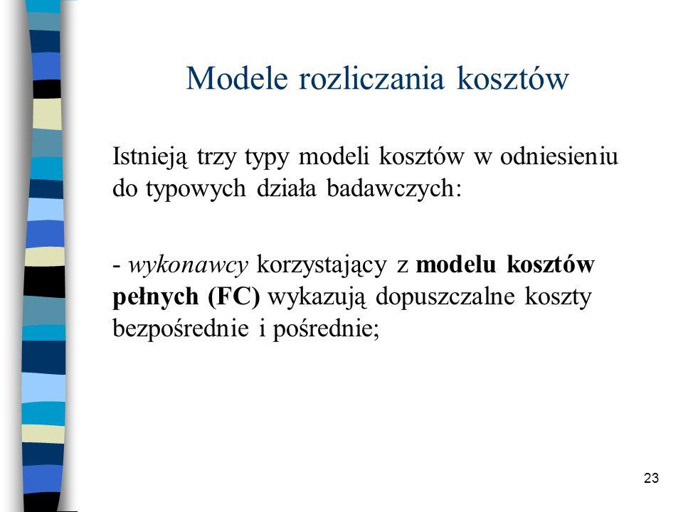 23 Modele rozliczania kosztów Istnieją trzy typy modeli kosztów w odniesieniu do typowych działa badawczych: - wykonawcy korzystający z modelu kosztów pełnych (FC) wykazują dopuszczalne koszty bezpośrednie i pośrednie;