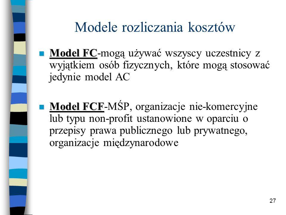 27 Modele rozliczania kosztów Model FC Model FC-mogą używać wszyscy uczestnicy z wyjątkiem osób fizycznych, które mogą stosować jedynie model AC Model FCF Model FCF-MŚP, organizacje nie-komercyjne lub typu non-profit ustanowione w oparciu o przepisy prawa publicznego lub prywatnego, organizacje międzynarodowe