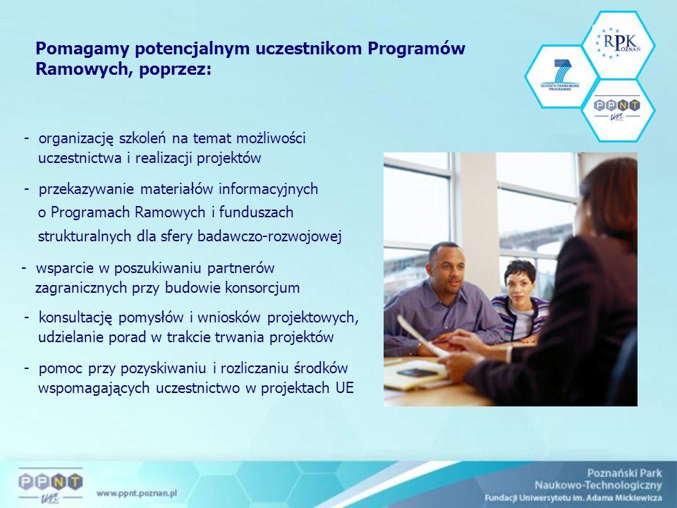 - organizację szkoleń na temat możliwości uczestnictwa i realizacji projektów - przekazywanie materiałów informacyjnych o Programach Ramowych i funduszach strukturalnych dla sfery badawczo-rozwojowej - wsparcie w poszukiwaniu partnerów zagranicznych przy budowie konsorcjum - konsultację pomysłów i wniosków projektowych, udzielanie porad w trakcie trwania projektów - pomoc przy pozyskiwaniu i rozliczaniu środków wspomagających uczestnictwo w projektach UE Pomagamy potencjalnym uczestnikom Programów Ramowych, poprzez: