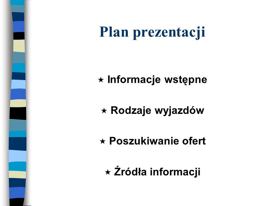 Plan prezentacji Informacje wstępne Rodzaje wyjazdów Poszukiwanie ofert Źródła informacji
