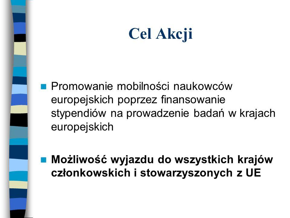 Stypendia rozwojowe (1) (Marie Curie Development Host Fellowships) Cel: Pomoc słabiej rozwiniętym regionom UE (Less- Favoured Regions) poprzez stymulowanie transferu wiedzy (przyjmowanie młodych naukowców) do instytucji naukowych, znajdujących się w tych regionach Wymogi dla stypendysty: - obywatel (lub minimum przez ostatnie 5 lat rezydent) państwa UE/kraju stowarzyszonego - stopień doktora lub przynajmniej 4-letnie odpowiednie doświadczenie badawcze