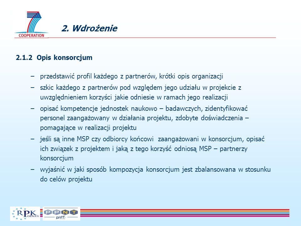 2. Wdrożenie 2.1.2 Opis konsorcjum –przedstawić profil każdego z partnerów, krótki opis organizacji –szkic każdego z partnerów pod względem jego udzia