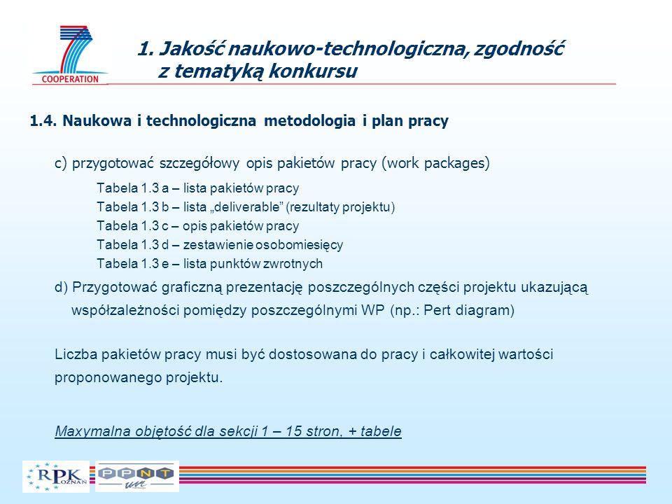 1.4. Naukowa i technologiczna metodologia i plan pracy c) przygotować szczegółowy opis pakietów pracy (work packages) Tabela 1.3 a – lista pakietów pr