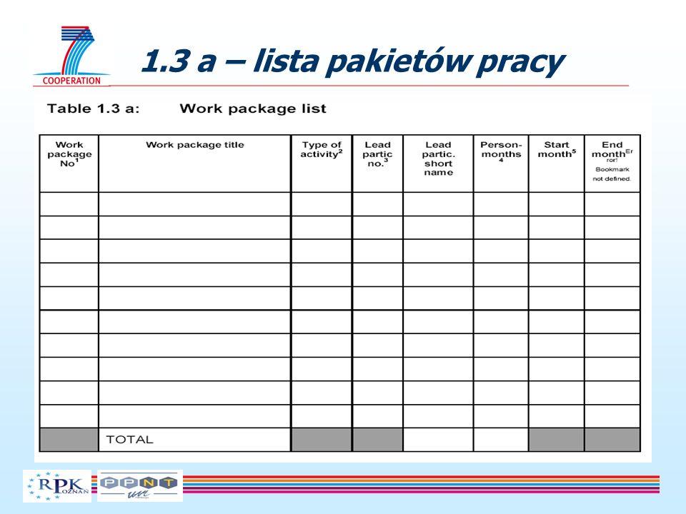 1.3 a – lista pakietów pracy