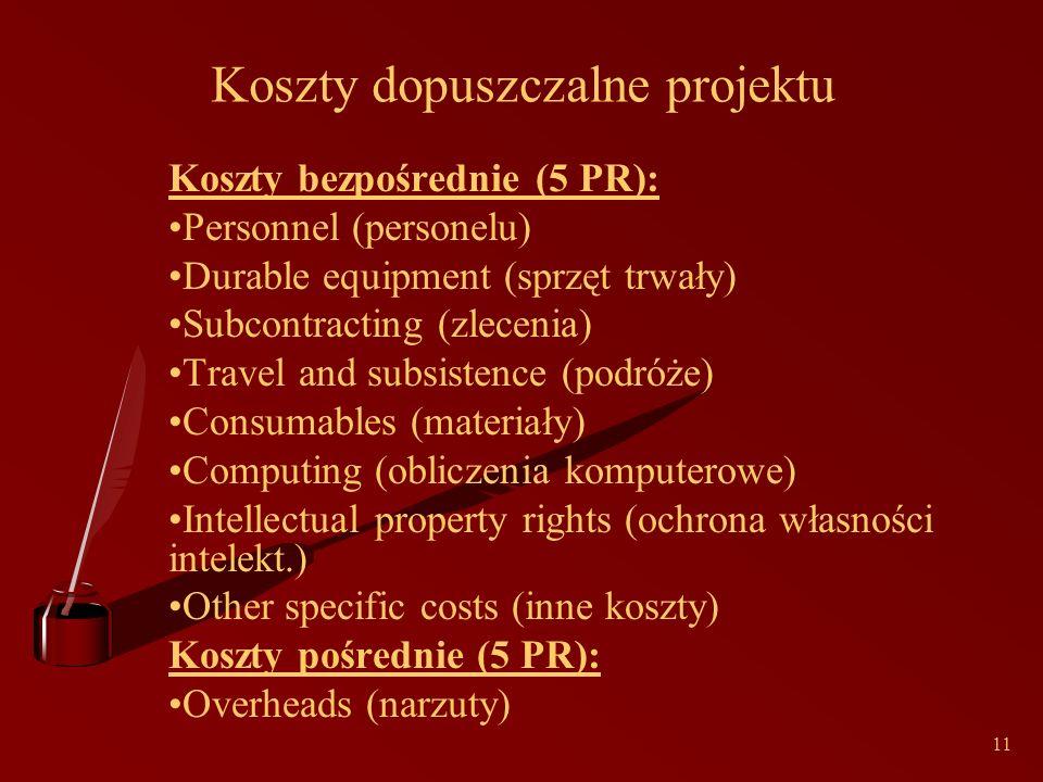 11 Koszty dopuszczalne projektu Koszty bezpośrednie (5 PR): Personnel (personelu) Durable equipment (sprzęt trwały) Subcontracting (zlecenia) Travel and subsistence (podróże) Consumables (materiały) Computing (obliczenia komputerowe) Intellectual property rights (ochrona własności intelekt.) Other specific costs (inne koszty) Koszty pośrednie (5 PR): Overheads (narzuty)