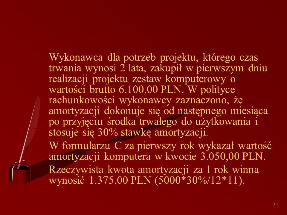 21 Wykonawca dla potrzeb projektu, którego czas trwania wynosi 2 lata, zakupił w pierwszym dniu realizacji projektu zestaw komputerowy o wartości brutto 6.100,00 PLN.