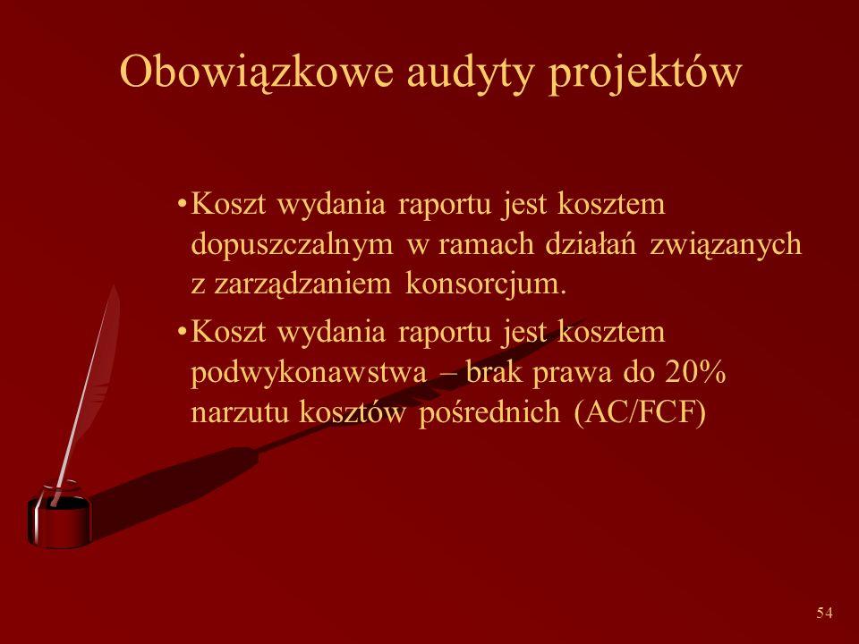 54 Obowiązkowe audyty projektów Koszt wydania raportu jest kosztem dopuszczalnym w ramach działań związanych z zarządzaniem konsorcjum.
