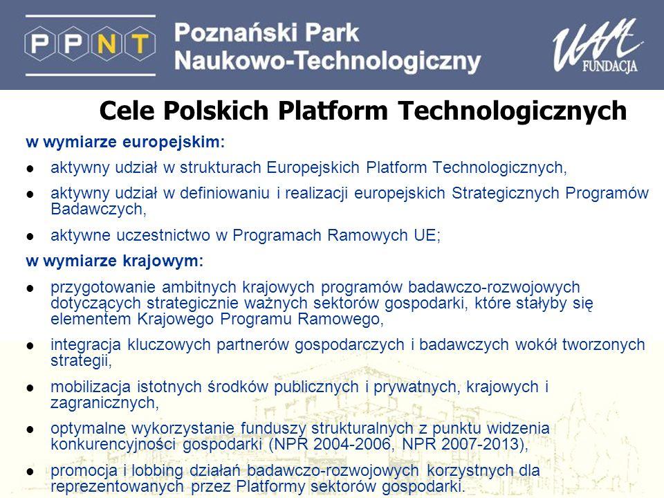 Cele Polskich Platform Technologicznych w wymiarze europejskim: l aktywny udział w strukturach Europejskich Platform Technologicznych, l aktywny udzia