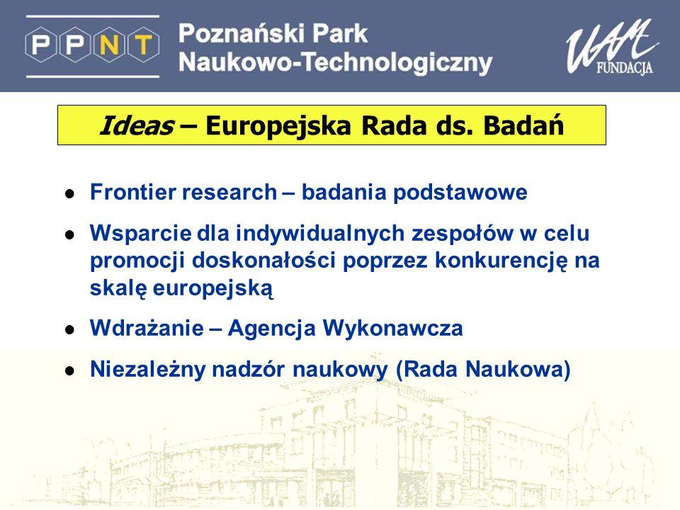 l Frontier research – badania podstawowe l Wsparcie dla indywidualnych zespołów w celu promocji doskonałości poprzez konkurencję na skalę europejską l Wdrażanie – Agencja Wykonawcza l Niezależny nadzór naukowy (Rada Naukowa) Ideas – Europejska Rada ds.