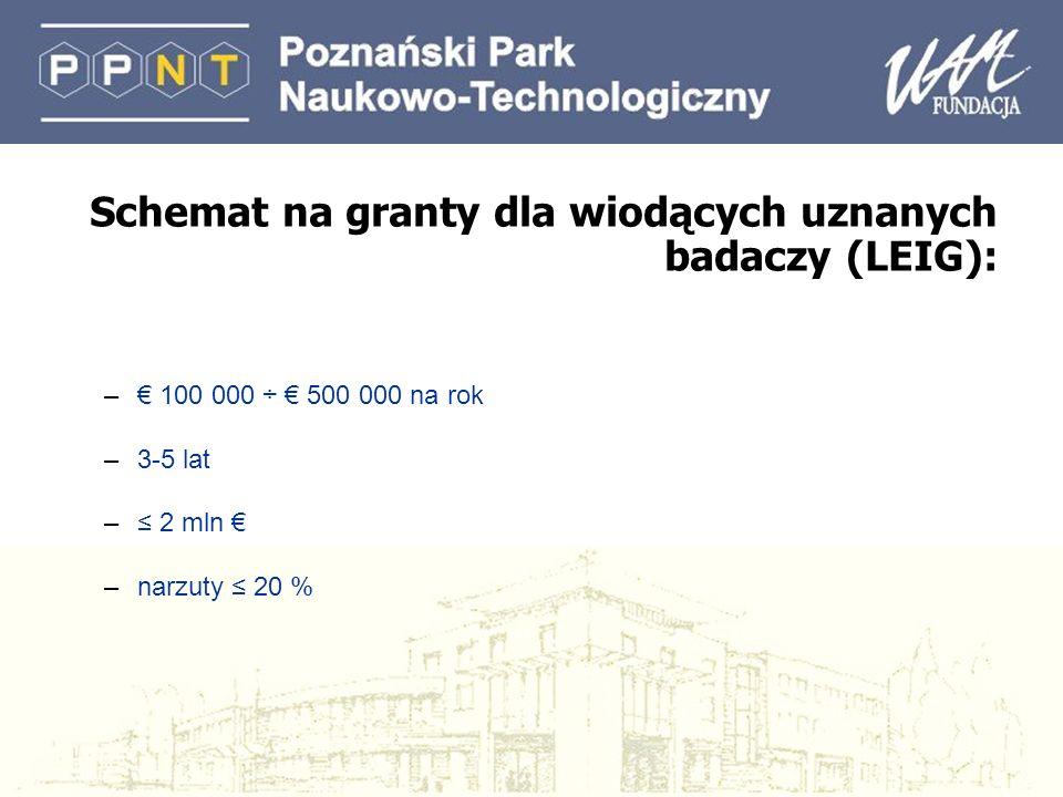 Schemat na granty dla wiodących uznanych badaczy (LEIG): – 100 000 ÷ 500 000 na rok –3-5 lat – 2 mln –narzuty 20 %