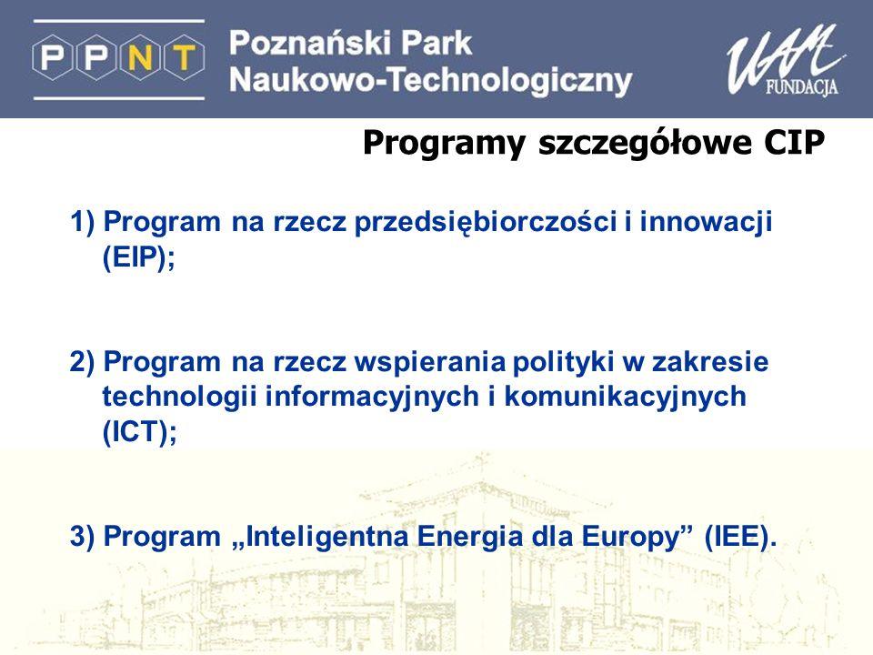 Programy szczegółowe CIP 1) Program na rzecz przedsiębiorczości i innowacji (EIP); 2) Program na rzecz wspierania polityki w zakresie technologii info