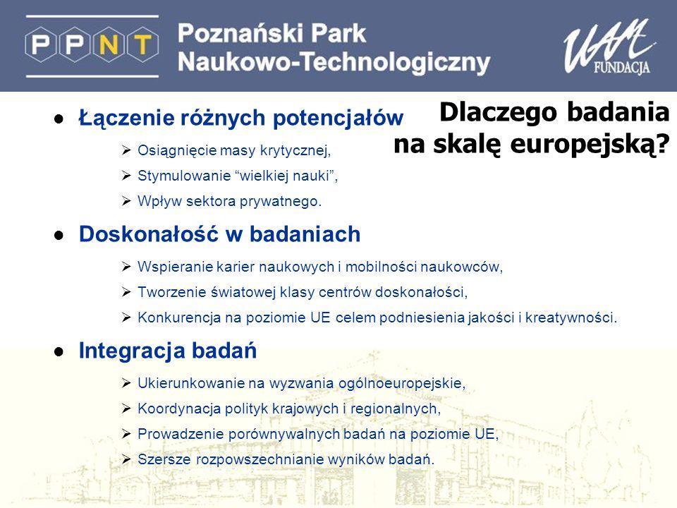 Dlaczego badania na skalę europejską? l Łączenie różnych potencjałów Osiągnięcie masy krytycznej, Stymulowanie wielkiej nauki, Wpływ sektora prywatneg