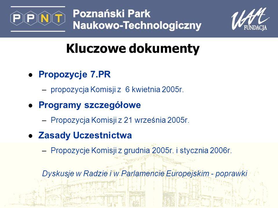Kluczowe dokumenty l Propozycje 7.PR –propozycja Komisji z 6 kwietnia 2005r. l Programy szczegółowe –Propozycja Komisji z 21 września 2005r. l Zasady