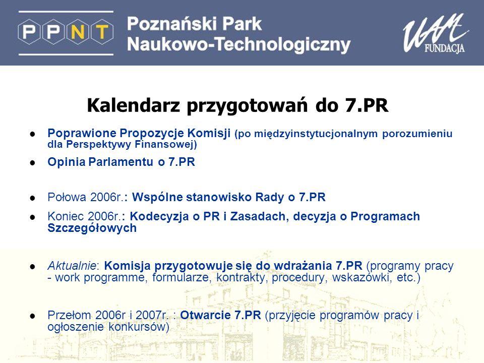 Kalendarz przygotowań do 7.PR l Poprawione Propozycje Komisji (po międzyinstytucjonalnym porozumieniu dla Perspektywy Finansowej) l Opinia Parlamentu