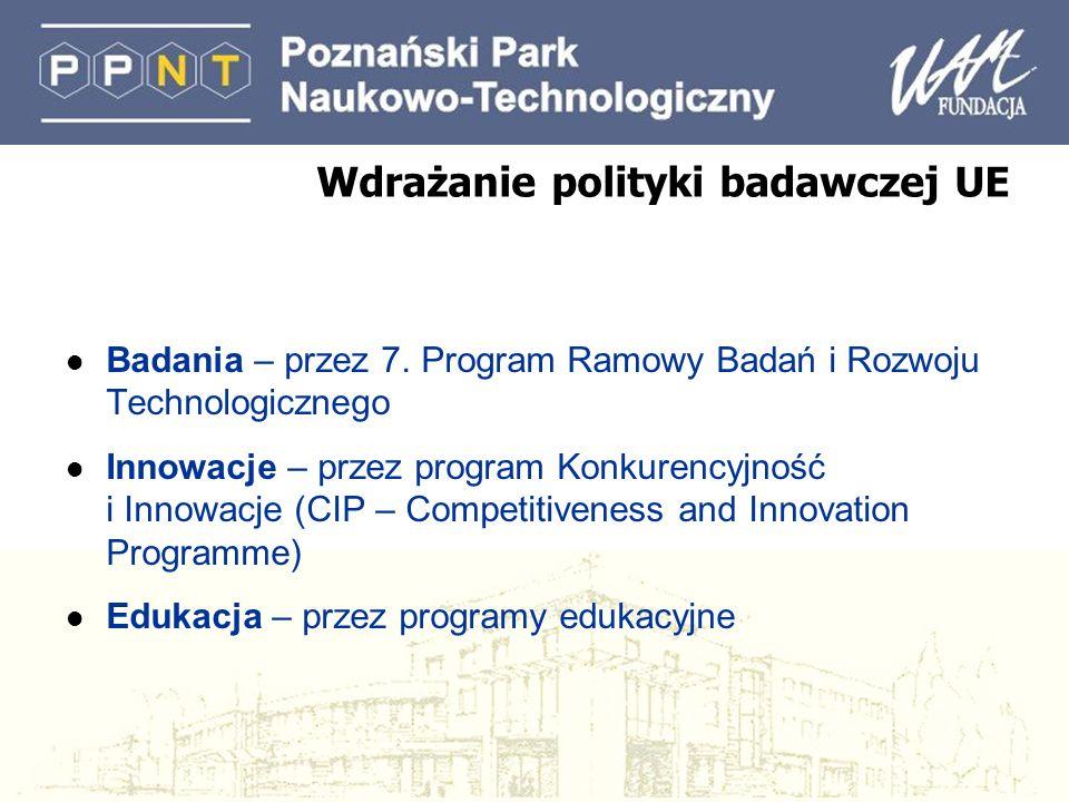 Wdrażanie polityki badawczej UE l Badania – przez 7. Program Ramowy Badań i Rozwoju Technologicznego l Innowacje – przez program Konkurencyjność i Inn