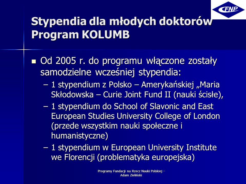 Programy Fundacji na Rzecz Nauki Polskiej - Adam Zieliński Stypendia dla młodych doktorów Program KOLUMB Od 2005 r.