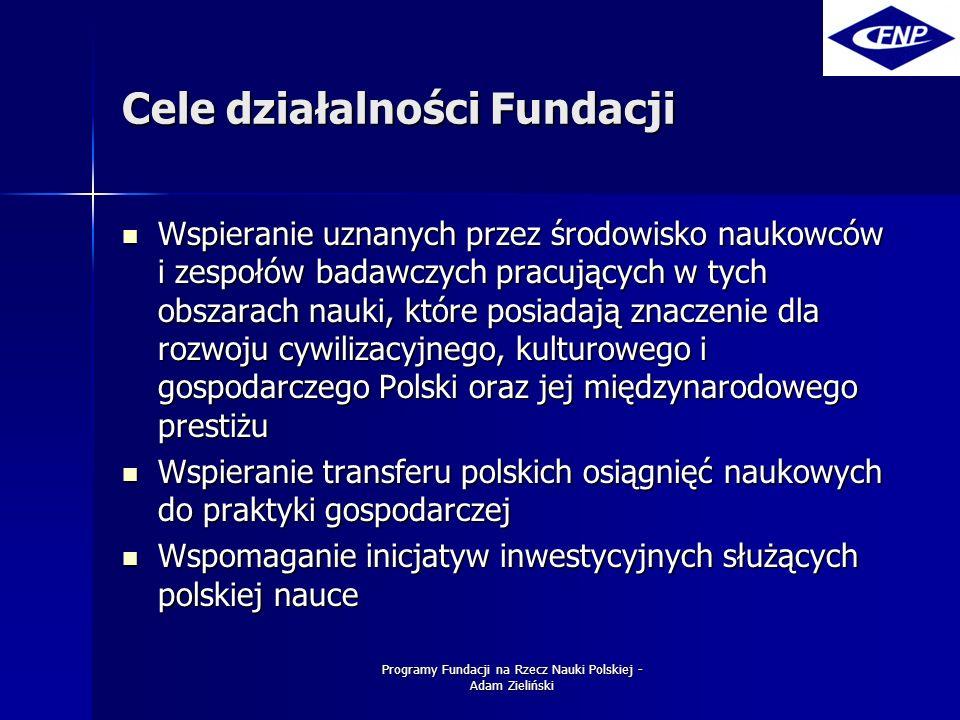 Programy Fundacji na Rzecz Nauki Polskiej - Adam Zieliński Cele działalności Fundacji Wspieranie uznanych przez środowisko naukowców i zespołów badawczych pracujących w tych obszarach nauki, które posiadają znaczenie dla rozwoju cywilizacyjnego, kulturowego i gospodarczego Polski oraz jej międzynarodowego prestiżu Wspieranie uznanych przez środowisko naukowców i zespołów badawczych pracujących w tych obszarach nauki, które posiadają znaczenie dla rozwoju cywilizacyjnego, kulturowego i gospodarczego Polski oraz jej międzynarodowego prestiżu Wspieranie transferu polskich osiągnięć naukowych do praktyki gospodarczej Wspieranie transferu polskich osiągnięć naukowych do praktyki gospodarczej Wspomaganie inicjatyw inwestycyjnych służących polskiej nauce Wspomaganie inicjatyw inwestycyjnych służących polskiej nauce
