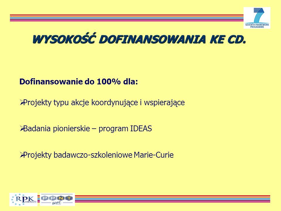 Dofinansowanie do 100% dla: Projekty typu akcje koordynujące i wspierające Badania pionierskie – program IDEAS Projekty badawczo-szkoleniowe Marie-Curie