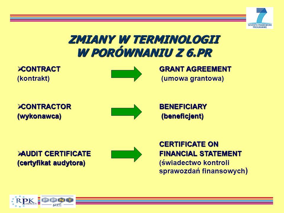 ZMIANY W TERMINOLOGII W PORÓWNANIU Z 6.PR CONTRACTGRANT AGREEMENT CONTRACTGRANT AGREEMENT (kontrakt) (umowa grantowa) CONTRACTORBENEFICIARY CONTRACTORBENEFICIARY (wykonawca) (beneficjent) CERTIFICATE ON AUDIT CERTIFICATEFINANCIAL STATEMENT AUDIT CERTIFICATEFINANCIAL STATEMENT (certyfikat audytora) (certyfikat audytora) (świadectwo kontroli sprawozdań finansowych )