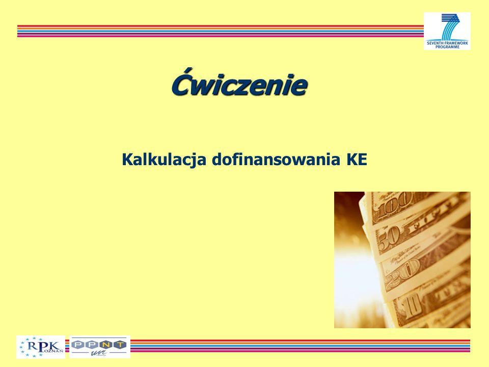 Ćwiczenie Kalkulacja dofinansowania KE