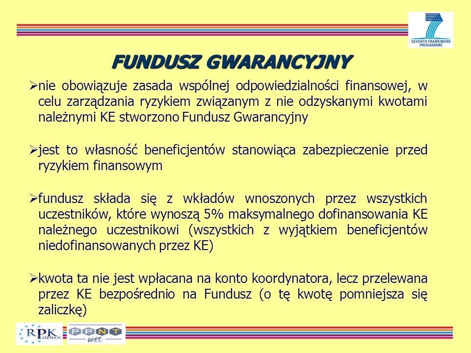FUNDUSZ GWARANCYJNY nie obowiązuje zasada wspólnej odpowiedzialności finansowej, w celu zarządzania ryzykiem związanym z nie odzyskanymi kwotami należnymi KE stworzono Fundusz Gwarancyjny jest to własność beneficjentów stanowiąca zabezpieczenie przed ryzykiem finansowym fundusz składa się z wkładów wnoszonych przez wszystkich uczestników, które wynoszą 5% maksymalnego dofinansowania KE należnego uczestnikowi (wszystkich z wyjątkiem beneficjentów niedofinansowanych przez KE) kwota ta nie jest wpłacana na konto koordynatora, lecz przelewana przez KE bezpośrednio na Fundusz (o tę kwotę pomniejsza się zaliczkę)