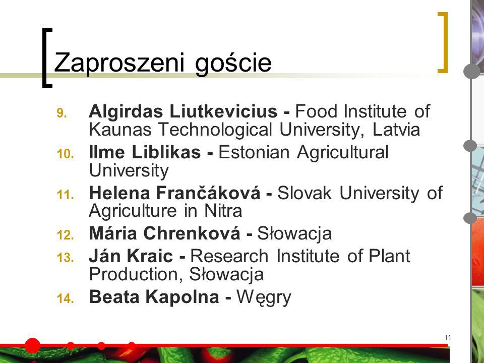 11 Zaproszeni goście 9. Algirdas Liutkevicius - Food Institute of Kaunas Technological University, Latvia 10. Ilme Liblikas - Estonian Agricultural Un