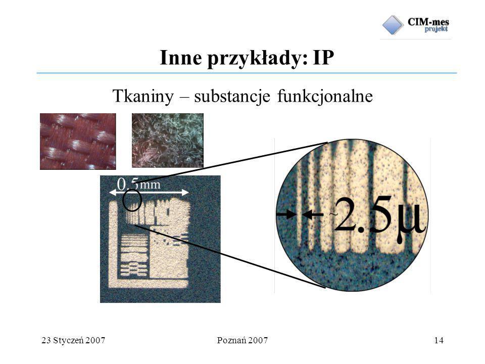 23 Styczeń 2007Poznań 200714 Tkaniny – substancje funkcjonalne Inne przykłady: IP