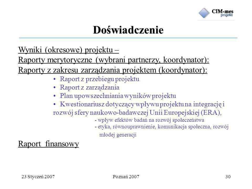23 Styczeń 2007Poznań 200730 Doświadczenie Wyniki (okresowe) projektu – Raporty merytoryczne (wybrani partnerzy, koordynator): Raporty z zakresu zarządzania projektem (koordynator): Raport z przebiegu projektu Raport z zarządzania Plan upowszechniania wyników projektu Kwestionariusz dotyczący wpływu projektu na integrację i rozwój sfery naukowo-badawczej Unii Europejskiej (ERA), - wpływ efektów badań na rozwój społeczeństwa - etyka, równouprawnienie, komunikacja społeczna, rozwój młodej generacji Raport finansowy