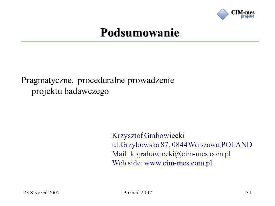 23 Styczeń 2007Poznań 200731 Podsumowanie Pragmatyczne, proceduralne prowadzenie projektu badawczego Krzysztof Grabowiecki ul.Grzybowska 87, 0844Warszawa,POLAND Mail: k.grabowiecki@cim-mes.com.pl www.cim-mes.com.pl Web side: www.cim-mes.com.pl