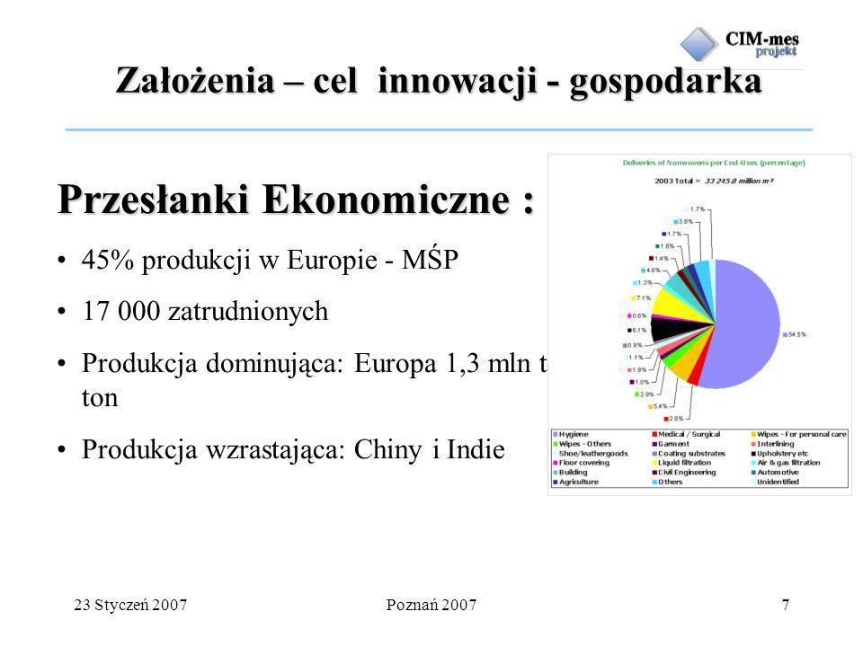 23 Styczeń 2007Poznań 20077 Przesłanki Ekonomiczne : 45% produkcji w Europie - MŚP 17 000 zatrudnionych Produkcja dominująca: Europa 1,3 mln ton, USA 1,7 mln ton Produkcja wzrastająca: Chiny i Indie Założenia – cel innowacji - gospodarka