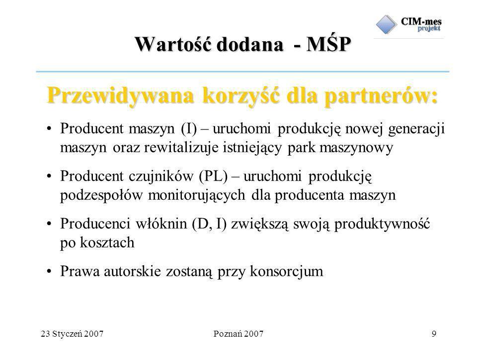 23 Styczeń 2007Poznań 20079 Wartość dodana - MŚP Przewidywana korzyść dla partnerów: Producent maszyn (I) – uruchomi produkcję nowej generacji maszyn oraz rewitalizuje istniejący park maszynowy Producent czujników (PL) – uruchomi produkcję podzespołów monitorujących dla producenta maszyn Producenci włóknin (D, I) zwiększą swoją produktywność po kosztach Prawa autorskie zostaną przy konsorcjum