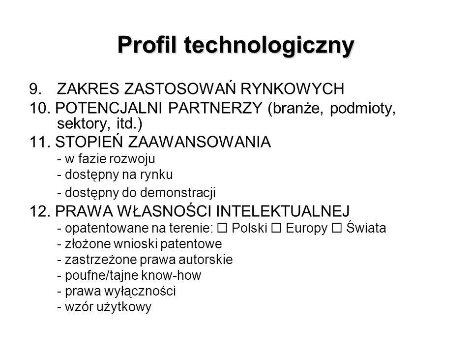 Profil technologiczny 9. ZAKRES ZASTOSOWAŃ RYNKOWYCH 10.