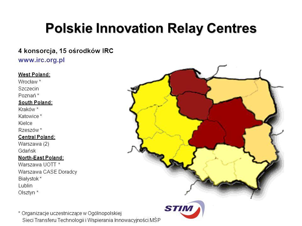 Polskie Innovation Relay Centres 4 konsorcja, 15 ośrodków IRC www.irc.org.pl West Poland: Wrocław * Szczecin Poznań * South Poland: Kraków * Katowice * Kielce Rzeszów * Central Poland: Warszawa (2) Gdańsk North-East Poland: Warszawa UOTT * Warszawa CASE Doradcy Białystok * Lublin Olsztyn * * Organizacje uczestniczące w Ogólnopolskiej Sieci Transferu Technologii i Wspierania Innowacyjności MŚP