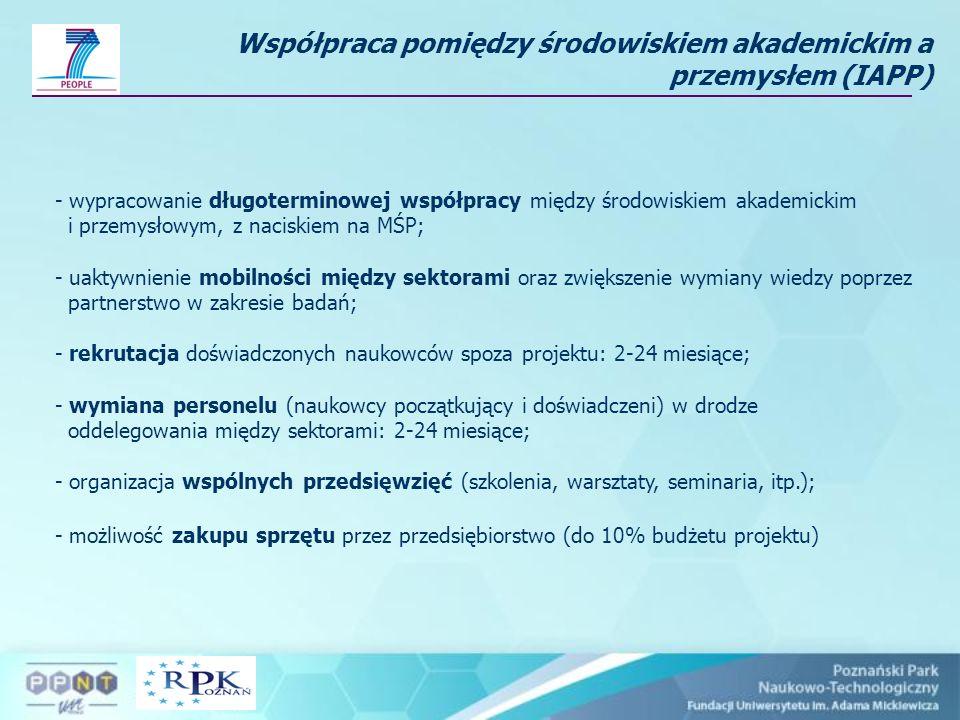 Współpraca pomiędzy środowiskiem akademickim a przemysłem (IAPP) - wypracowanie długoterminowej współpracy między środowiskiem akademickim i przemysło