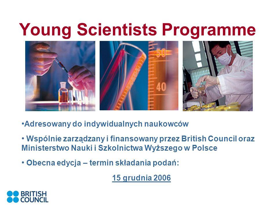 Young Scientists Programme Adresowany do indywidualnych naukowców Wspólnie zarządzany i finansowany przez British Council oraz Ministerstwo Nauki i Szkolnictwa Wyższego w Polsce Obecna edycja – termin składania podań: 15 grudnia 2006
