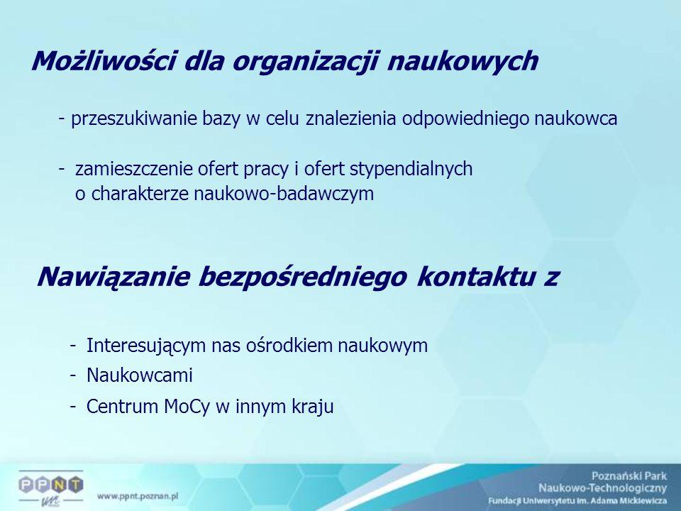 Możliwości dla organizacji naukowych - przeszukiwanie bazy w celu znalezienia odpowiedniego naukowca -zamieszczenie ofert pracy i ofert stypendialnych