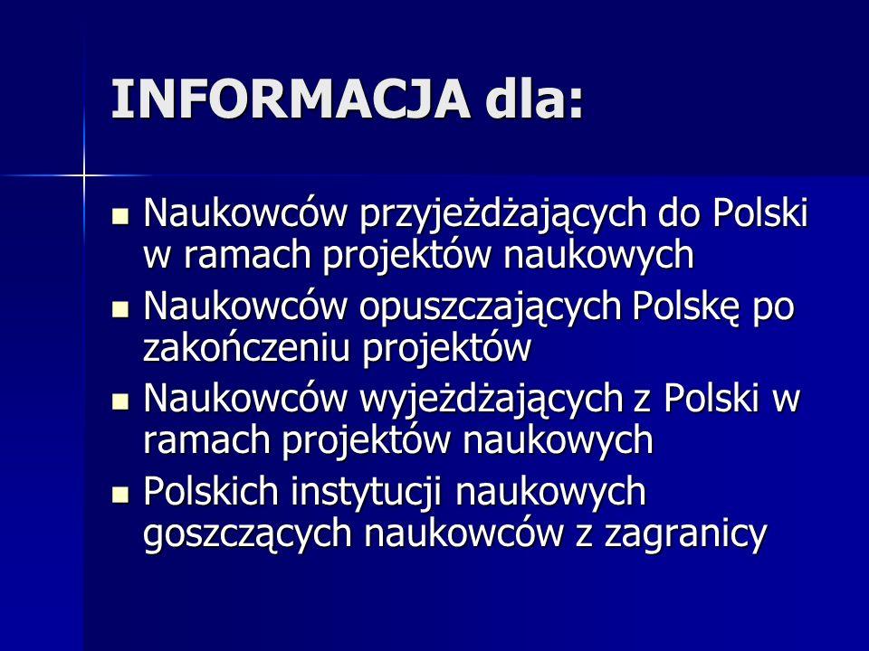 INFORMACJA dla: Naukowców przyjeżdżających do Polski w ramach projektów naukowych Naukowców przyjeżdżających do Polski w ramach projektów naukowych Naukowców opuszczających Polskę po zakończeniu projektów Naukowców opuszczających Polskę po zakończeniu projektów Naukowców wyjeżdżających z Polski w ramach projektów naukowych Naukowców wyjeżdżających z Polski w ramach projektów naukowych Polskich instytucji naukowych goszczących naukowców z zagranicy Polskich instytucji naukowych goszczących naukowców z zagranicy
