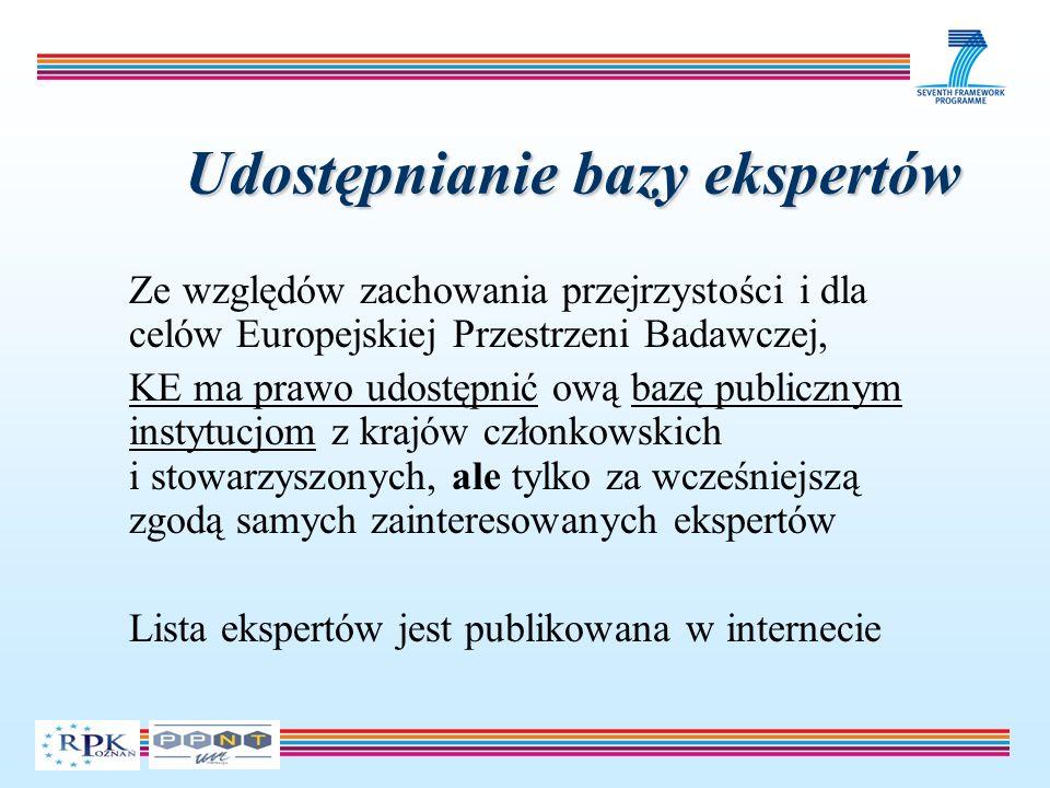 Udostępnianie bazy ekspertów Ze względów zachowania przejrzystości i dla celów Europejskiej Przestrzeni Badawczej, KE ma prawo udostępnić ową bazę publicznym instytucjom z krajów członkowskich i stowarzyszonych, ale tylko za wcześniejszą zgodą samych zainteresowanych ekspertów Lista ekspertów jest publikowana w internecie