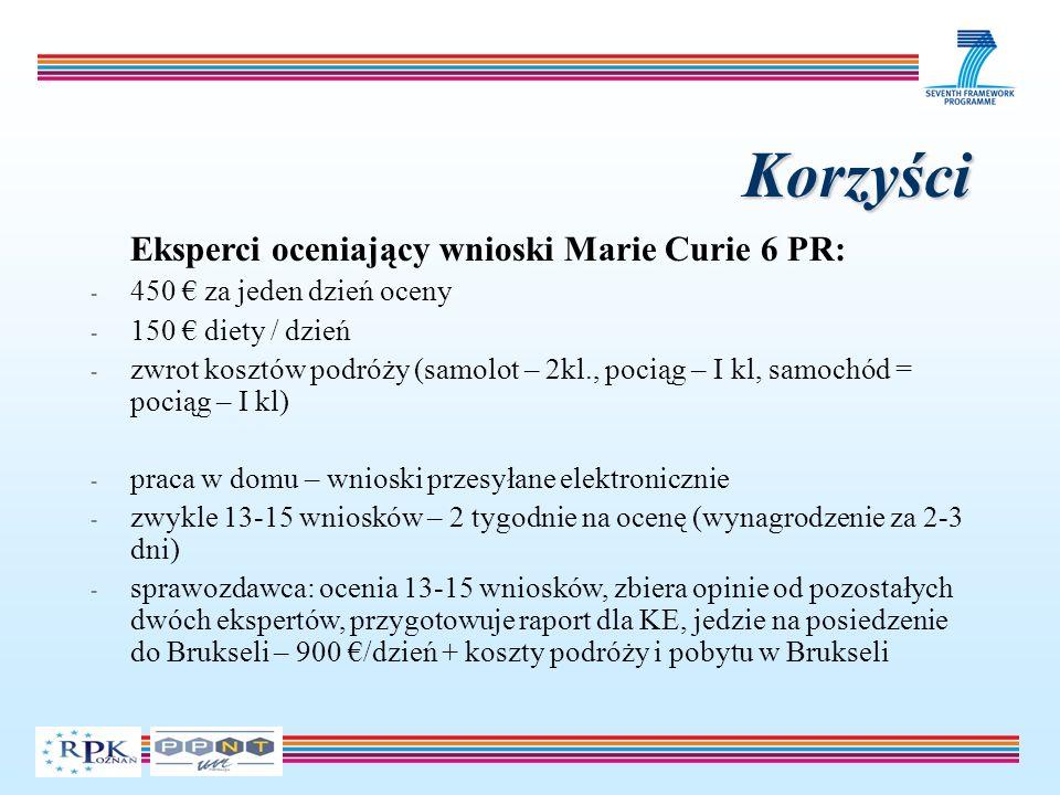 Korzyści Eksperci oceniający wnioski Marie Curie 6 PR: - 450 za jeden dzień oceny - 150 diety / dzień - zwrot kosztów podróży (samolot – 2kl., pociąg – I kl, samochód = pociąg – I kl) - praca w domu – wnioski przesyłane elektronicznie - zwykle 13-15 wniosków – 2 tygodnie na ocenę (wynagrodzenie za 2-3 dni) - sprawozdawca: ocenia 13-15 wniosków, zbiera opinie od pozostałych dwóch ekspertów, przygotowuje raport dla KE, jedzie na posiedzenie do Brukseli – 900 /dzień + koszty podróży i pobytu w Brukseli