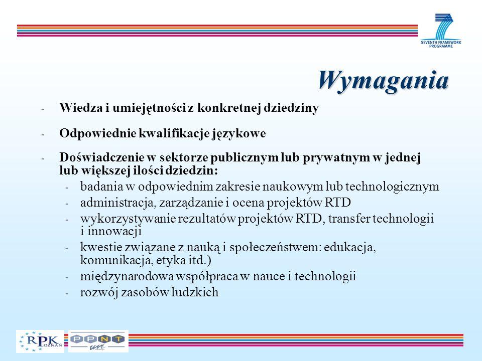 Wymagania - Wiedza i umiejętności z konkretnej dziedziny - Odpowiednie kwalifikacje językowe - Doświadczenie w sektorze publicznym lub prywatnym w jednej lub większej ilości dziedzin: - badania w odpowiednim zakresie naukowym lub technologicznym - administracja, zarządzanie i ocena projektów RTD - wykorzystywanie rezultatów projektów RTD, transfer technologii i innowacji - kwestie związane z nauką i społeczeństwem: edukacja, komunikacja, etyka itd.) - międzynarodowa współpraca w nauce i technologii - rozwój zasobów ludzkich