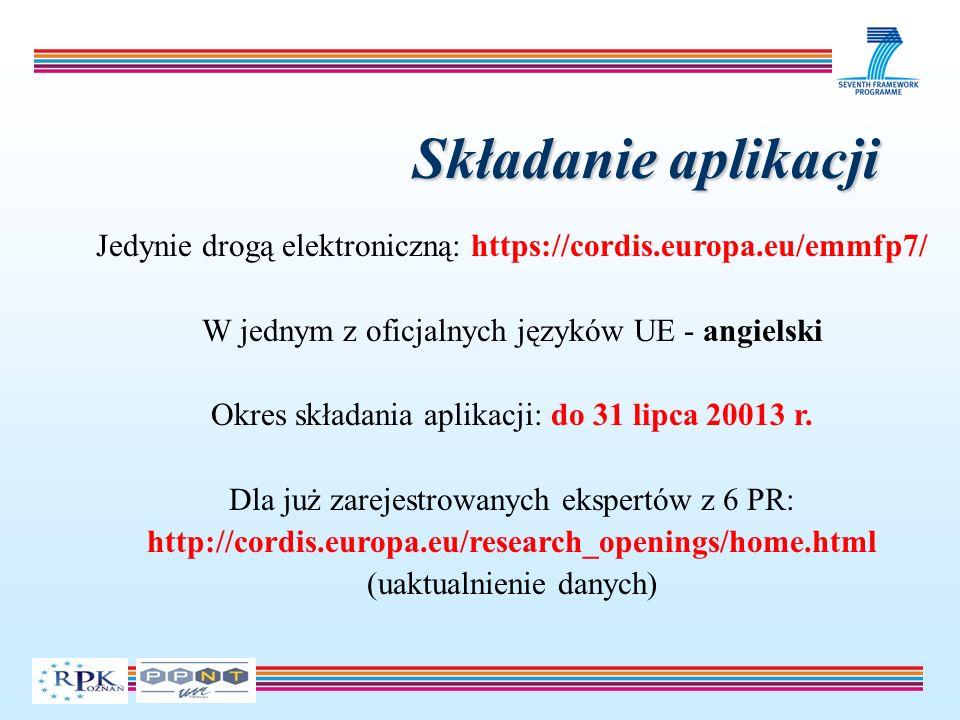 Składanie aplikacji Jedynie drogą elektroniczną: https://cordis.europa.eu/emmfp7/ W jednym z oficjalnych języków UE - angielski Okres składania aplika