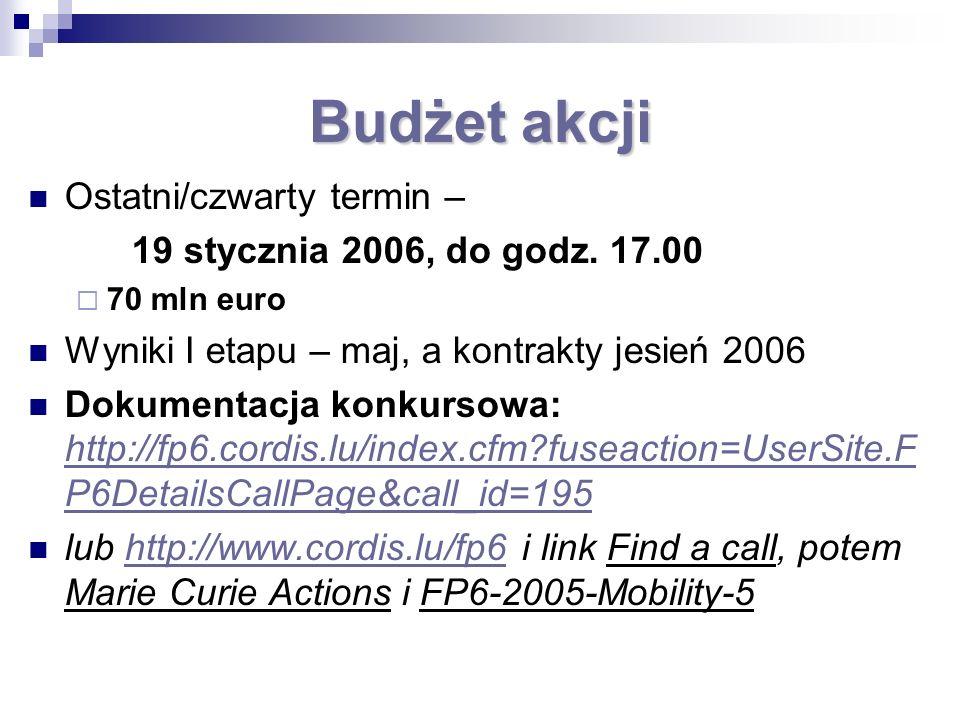 Budżet akcji Ostatni/czwarty termin – 19 stycznia 2006, do godz. 17.00 70 mln euro Wyniki I etapu – maj, a kontrakty jesień 2006 Dokumentacja konkurso