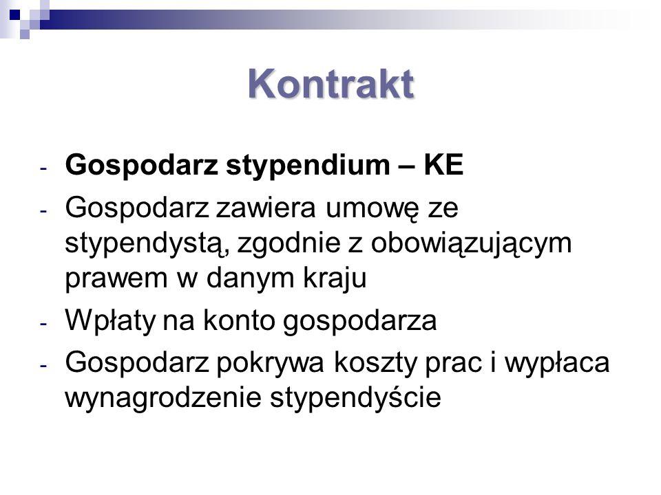 Kontrakt - Gospodarz stypendium – KE - Gospodarz zawiera umowę ze stypendystą, zgodnie z obowiązującym prawem w danym kraju - Wpłaty na konto gospodar