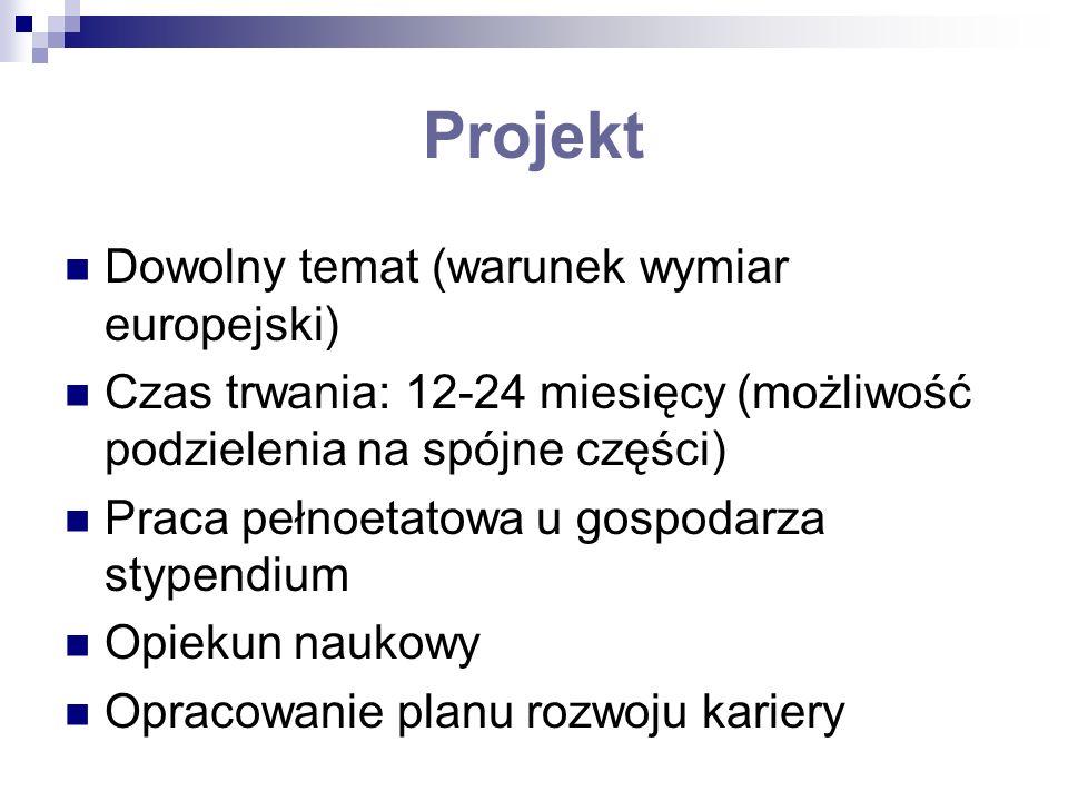 Projekt Dowolny temat (warunek wymiar europejski) Czas trwania: 12-24 miesięcy (możliwość podzielenia na spójne części) Praca pełnoetatowa u gospodarz