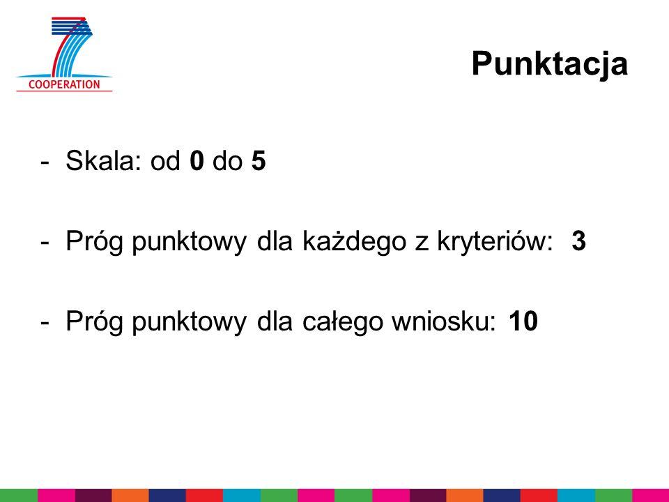 Punktacja -Skala: od 0 do 5 -Próg punktowy dla każdego z kryteriów: 3 -Próg punktowy dla całego wniosku: 10