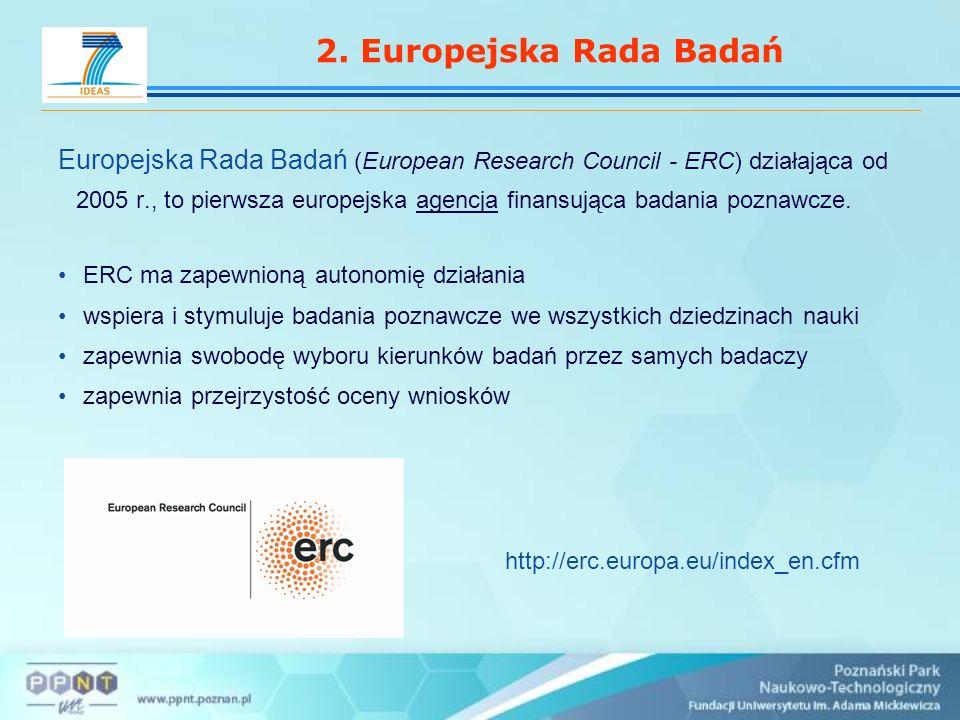 2. Europejska Rada Badań Europejska Rada Badań (European Research Council - ERC) działająca od 2005 r., to pierwsza europejska agencja finansująca bad